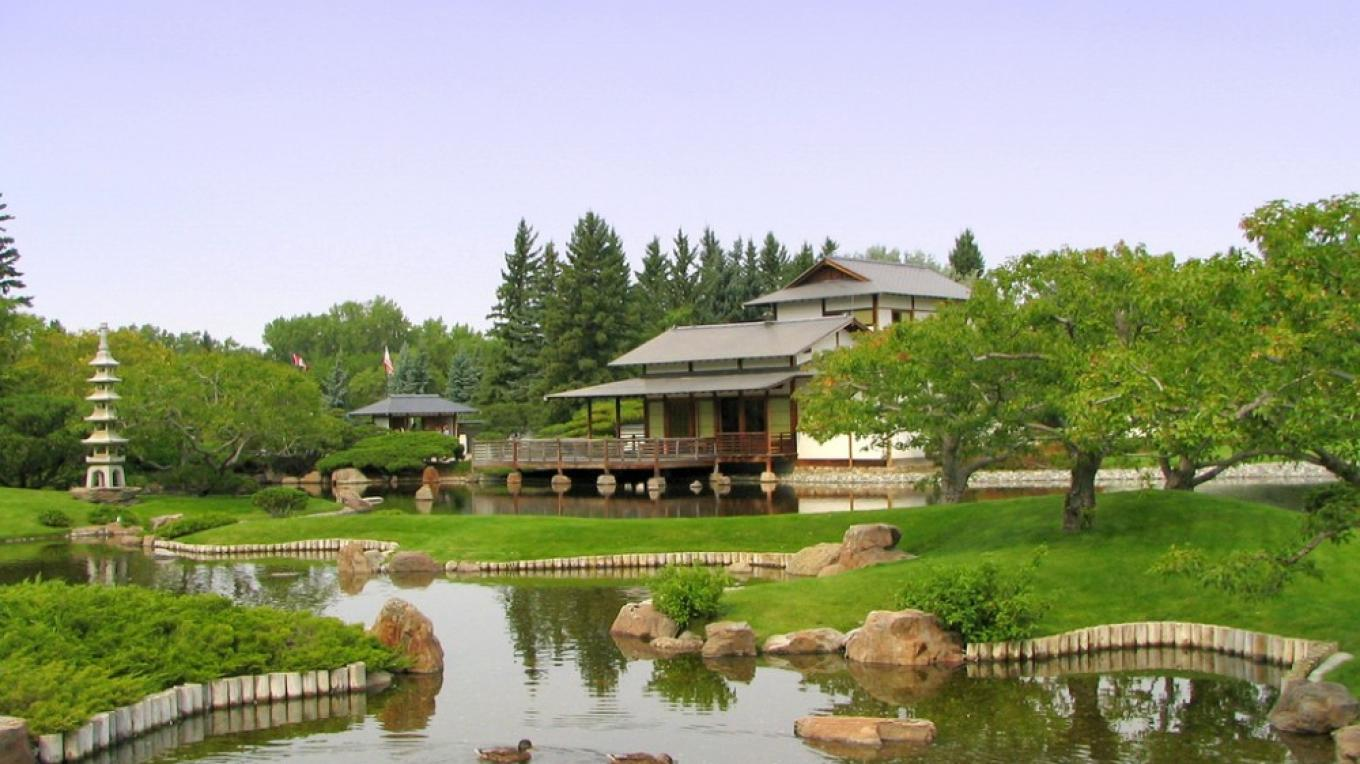 The teahouse sits serenely overlooking the garden and lake. – G. Wayne Dwornik