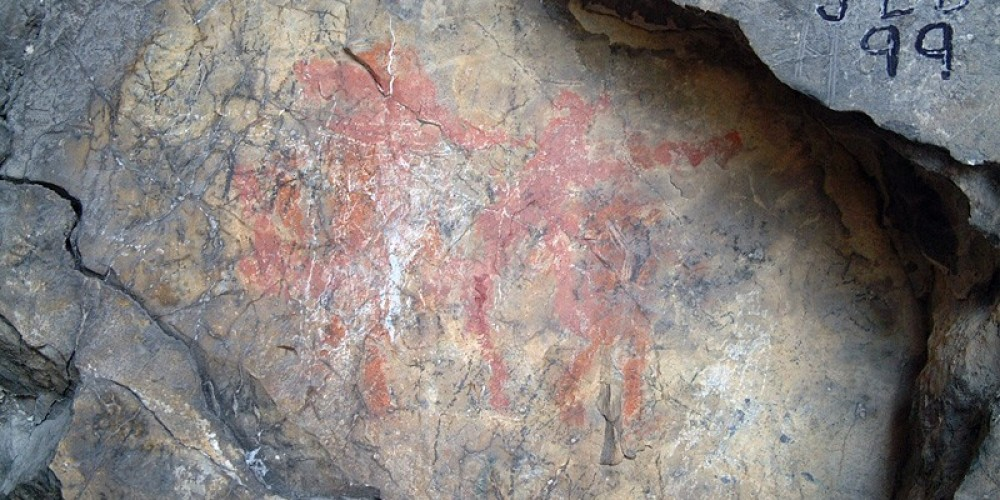Rare unsullied First Nations pictograph inside Basin Cave. – David Thomas