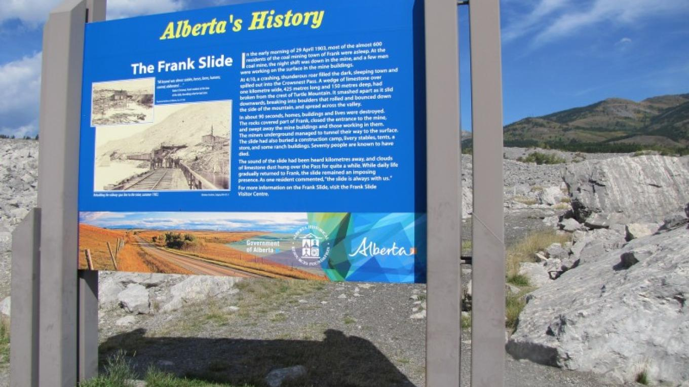 Alberta's Frank Slide History turnout on HWY 3. – Sheena Pate