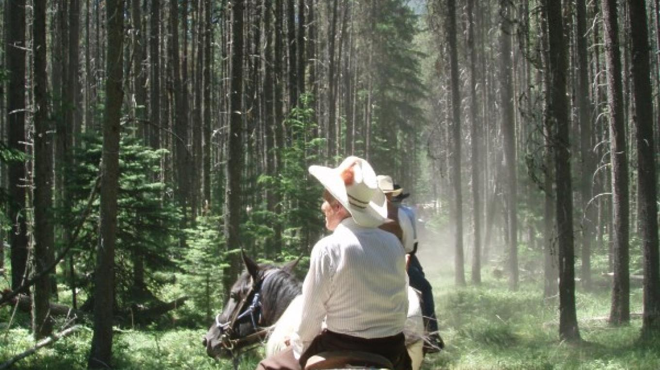 A Cowboy on the CM Russell Two Hour trail at Apgar