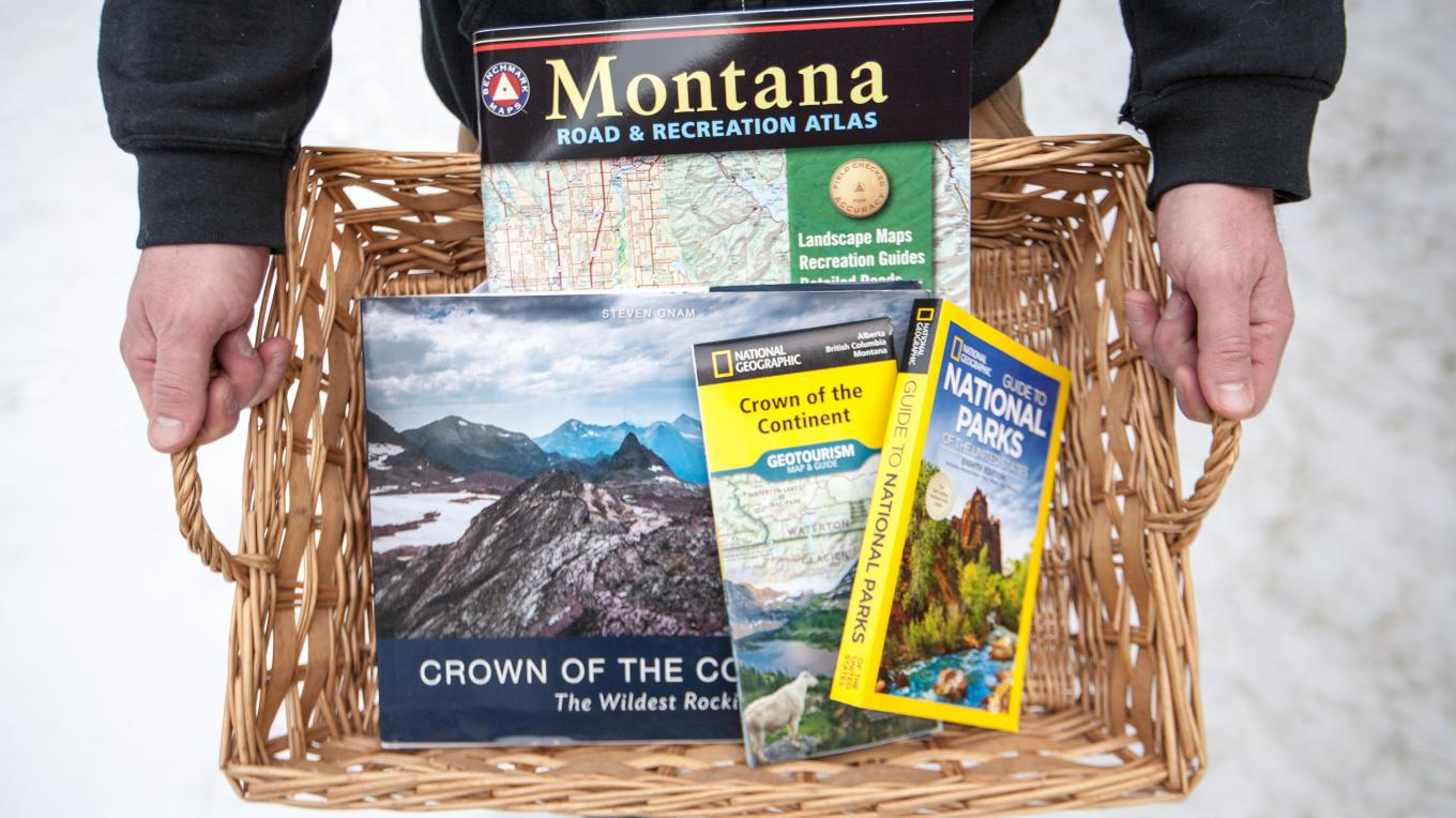 Giveaway Package 1: The Crown of the Continent: The Wildest Rockies (large-format photography book with essays), National Geographic Crown of the Continent Geotourism Map & Guide, National Geographic Guide to National Parks of the US 8th Edition, National Geographic Montana Road & Recreation Atlas, 4th Edition
