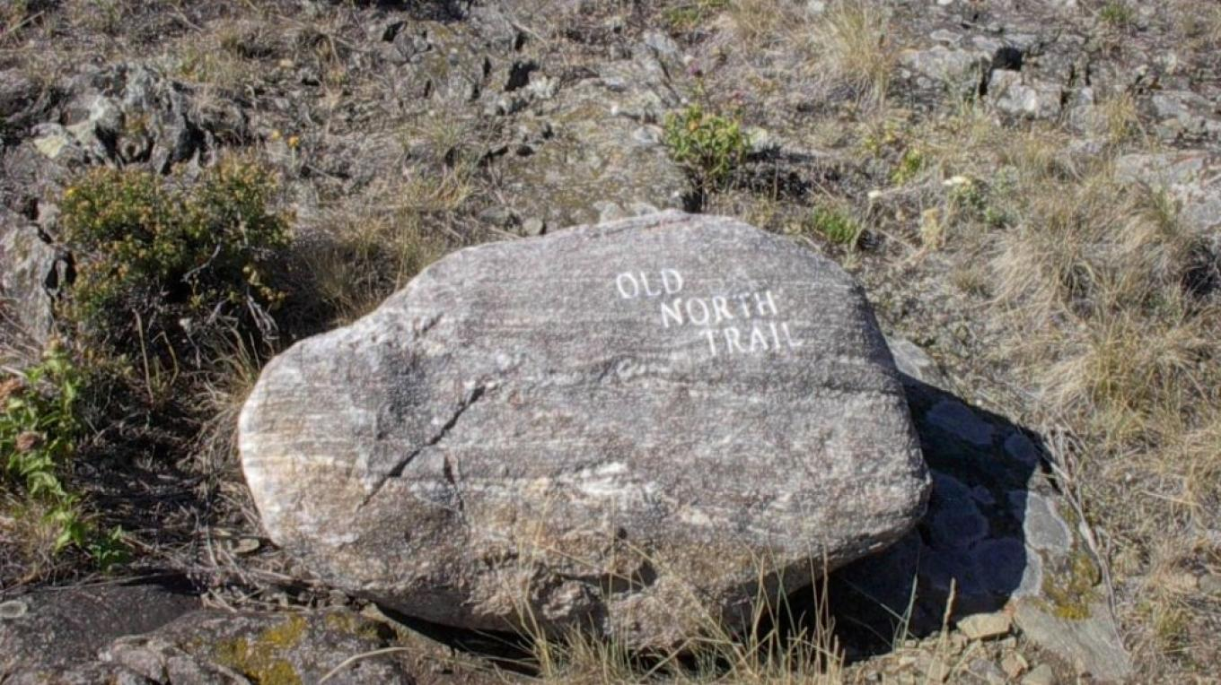 Old North Trail boulder marker near the Nature Conservancy – Paul Raczka