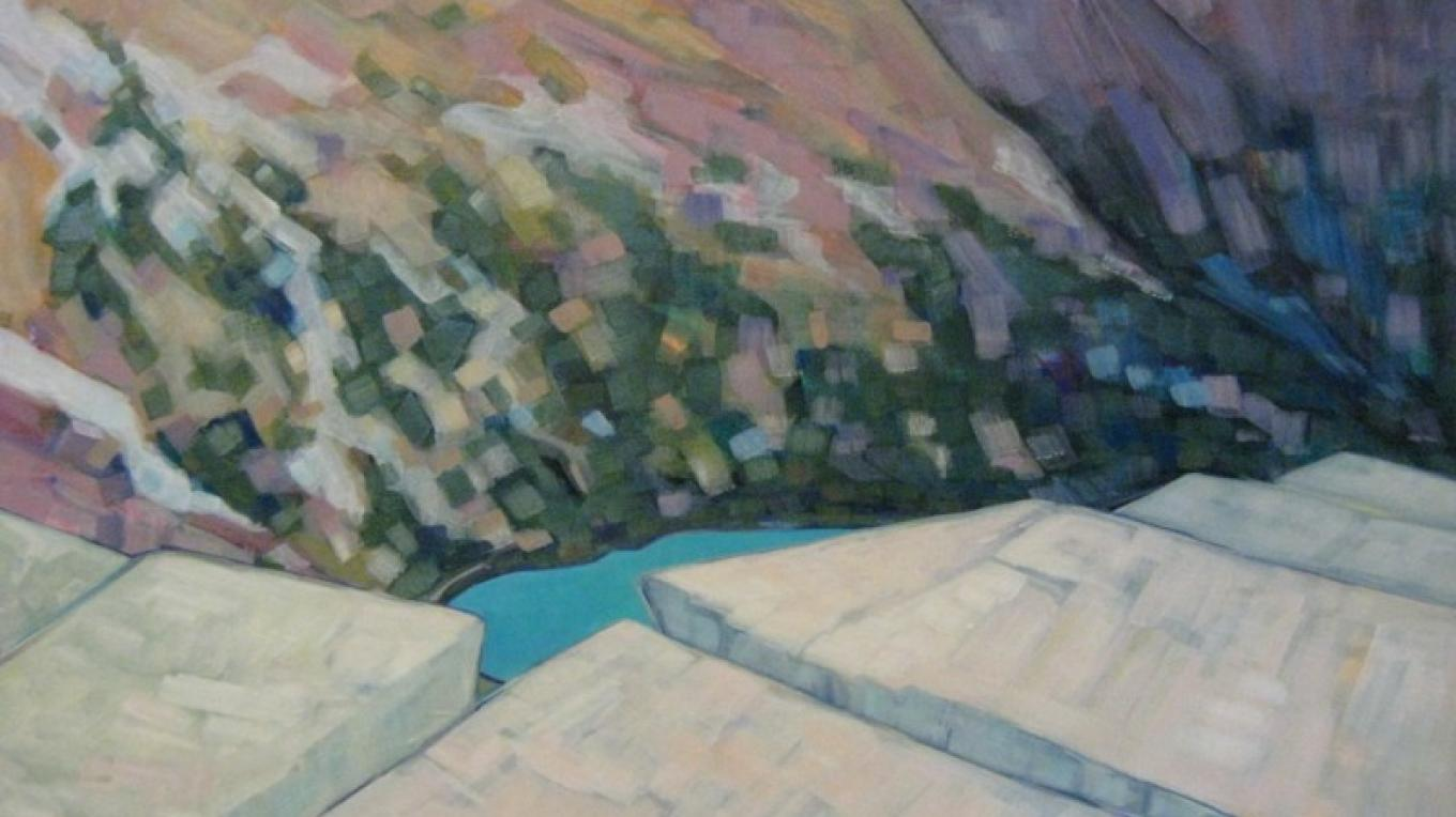 Artist: Andrea Brew Title: Jackson Glacier - High Noon – The Walking Man Frame Shop & Gallery