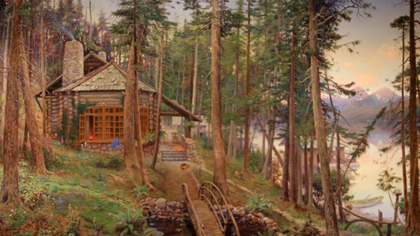 """O.C. Seltzer """"Sherwood Cabin on Lake McDonald"""", oil on canvas, 48"""" x 72""""; Hockaday Museum of Art Permanent Collection. – Brian F. Eklund"""