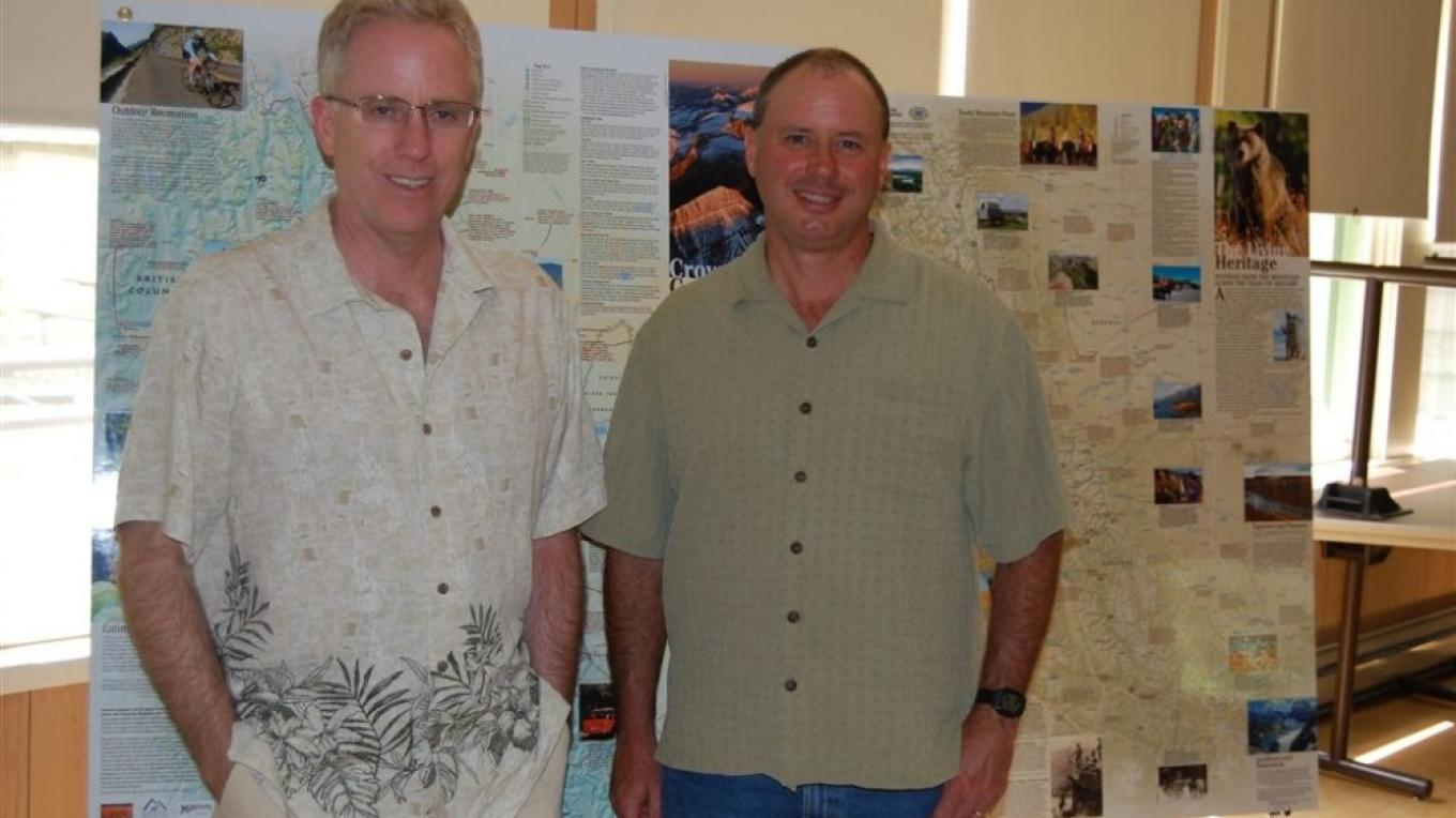 Myself and Steve Thompson at his presentation on the Crown. Canada Day, 2008. – Jay from Glacier Adventures