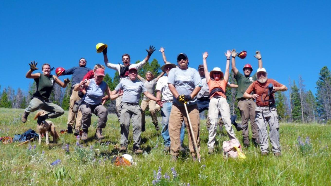 Volunteers on the CDT helping build new trail.