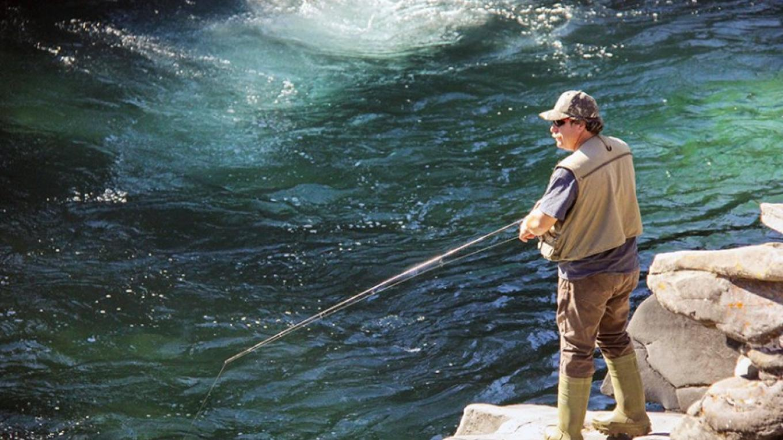 Fishing the Castle River at Castle Falls Provincial Recreation Area – H. Lambert, Alberta Parks
