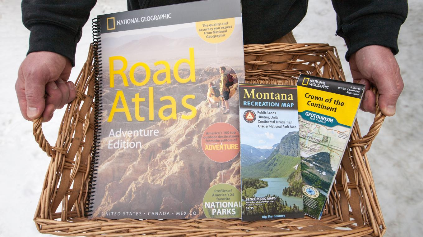 Giveaway Package 2: National Geographic Crown of the Continent Geotourism Map & Guide, National Geographic Montana Recreation Map, National Geographic Road Atlas: Adventure Edition