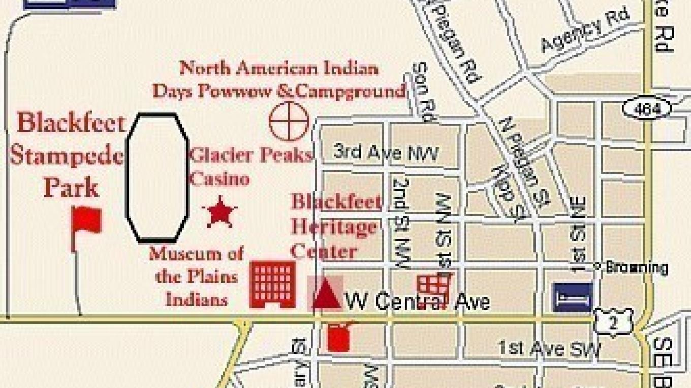 Map of Browning showing location of North American Indian Days Celebration Grounds, Blackfeet Heritage Center, Museum of the Plains Indian, Blackfeet Stampede Park, Glacier Peaks Casino and Sleeping Wolf Campground. – Colleen\'s Computer Corner, LLC