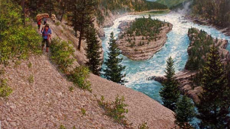 David Thompson portaging Kootenai Falls in Montana. – Painting by Joseph Cross