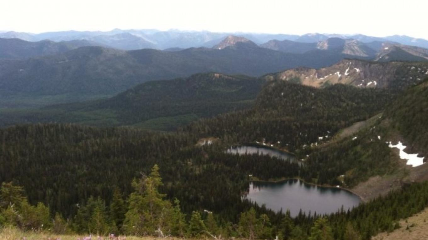 View of both lakes from Poorman Mountain. – Carrie Kaarre