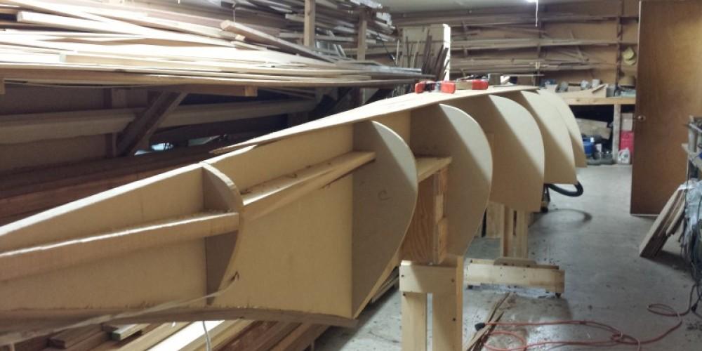 Kootenay sturgeon-nose canoe build in progress. – Sheena Pate