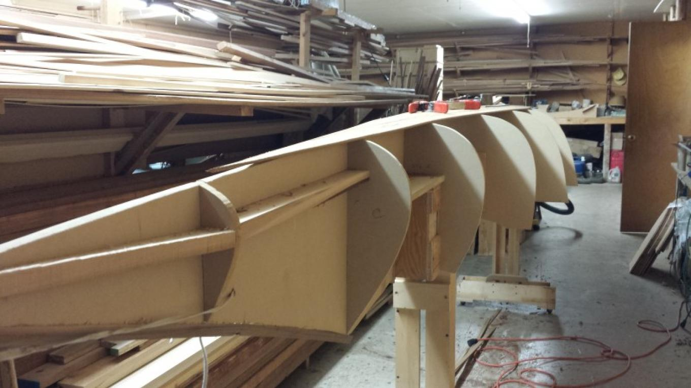 Kootenay sturgeon-nose canoe build in progress. – Sheena Pate