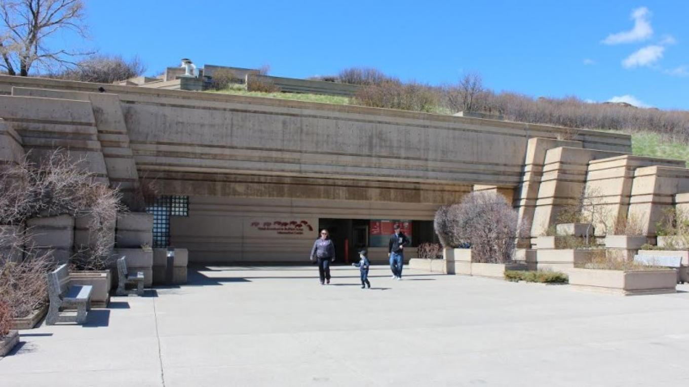 Entrance to Head-Smashed-In Buffalo Jump Interpretive Centre. There are actually 5 levels of exhibits to explore once inside! – Ken Favrholdt