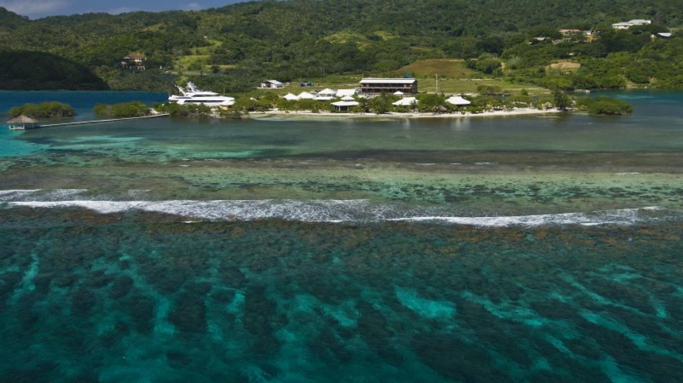 The Cay from the reef – Barefoot Cay