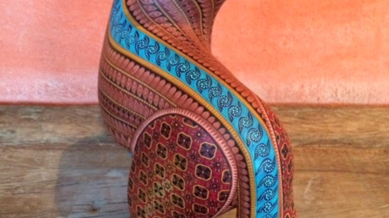 Unique and beautiful indigenous art in LALA gallery. This special piece by Jacobo and Maria Angeles is an example of Alebrije art from the Zapotec culture. – Layle Stanton
