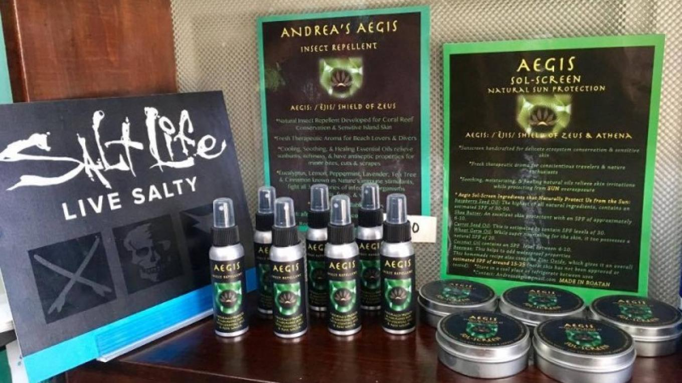 Aegis - Available at the Roatan Marine Park Eco-Store as well as many other shops in West End and West Bay. – Matt Lazich