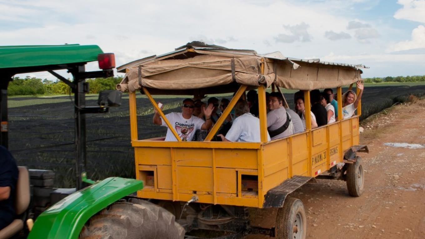 """Chalana"" name for the trailer use for the Pineapple Harvesters and used for the tour. – Photos by Evelyn Hullingshorst"