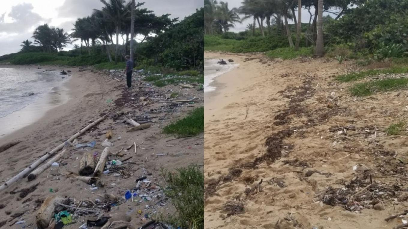 Before and After. One hour of picking up debris on the beach. – Utila Beach Cleanup