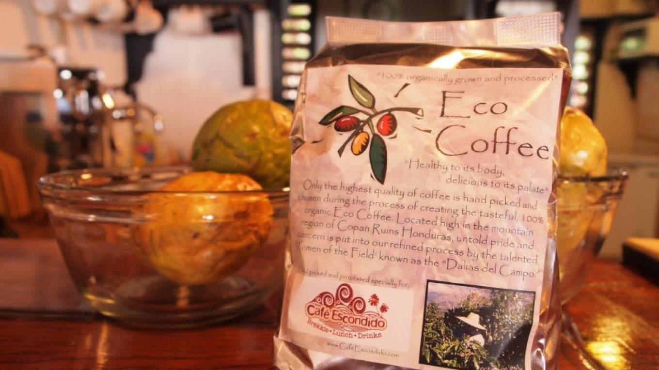 Eco Coffee, grown in Copan on the mainland of Honduras, we sell it by the pound and use it in all our espresso drinks – Manlio Martinez