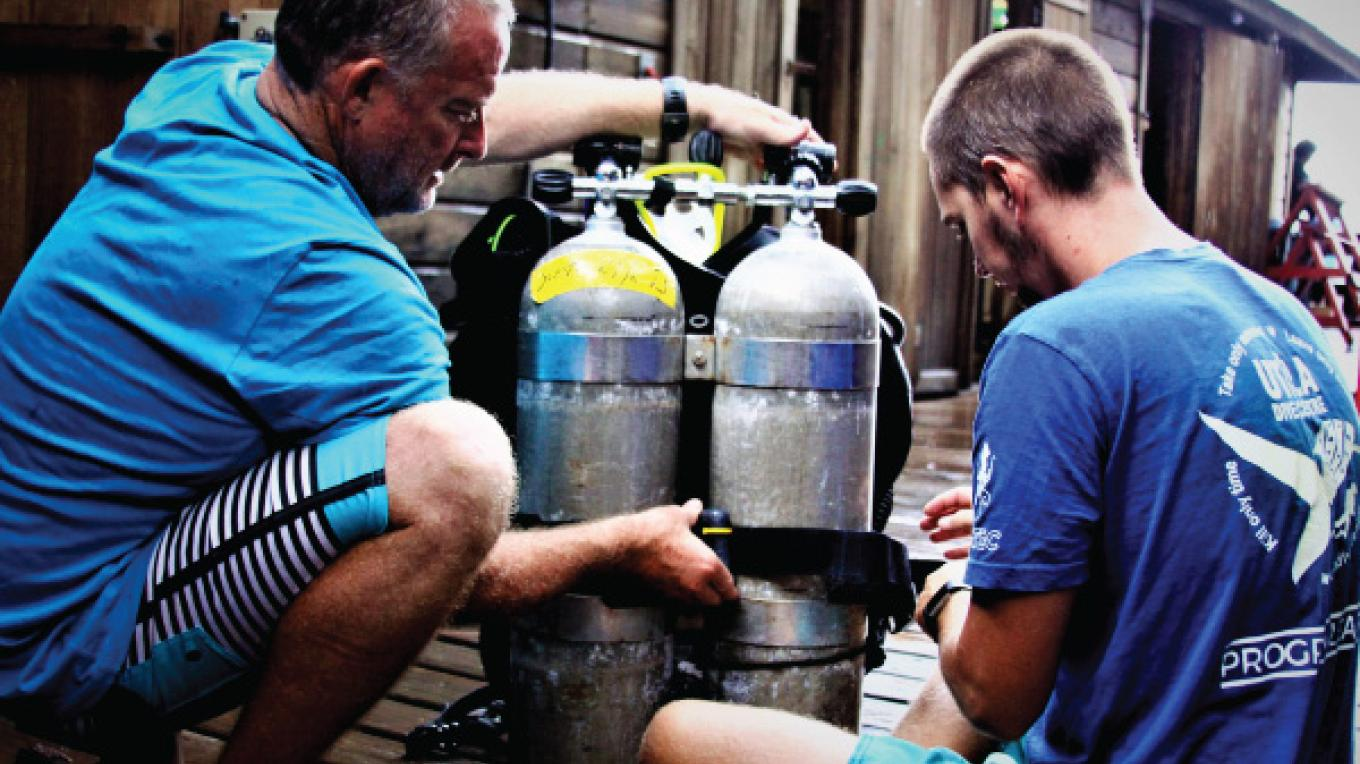 Tec Divers preparing equipment and planning their dives. – Ash Kirkham