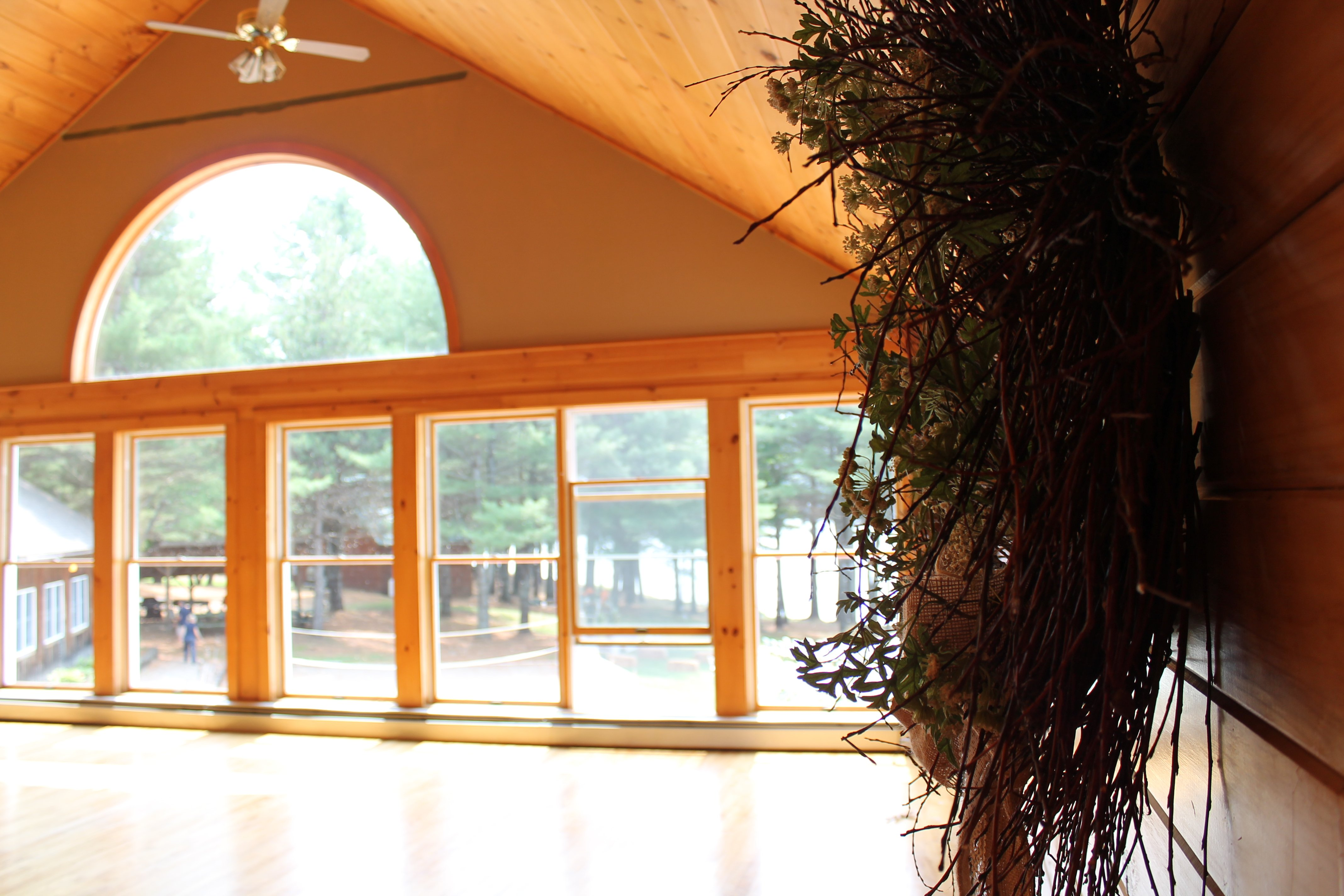 Upstairs in our main lodge, offers beautifully lit space for an indoor reception for smaller weddings.