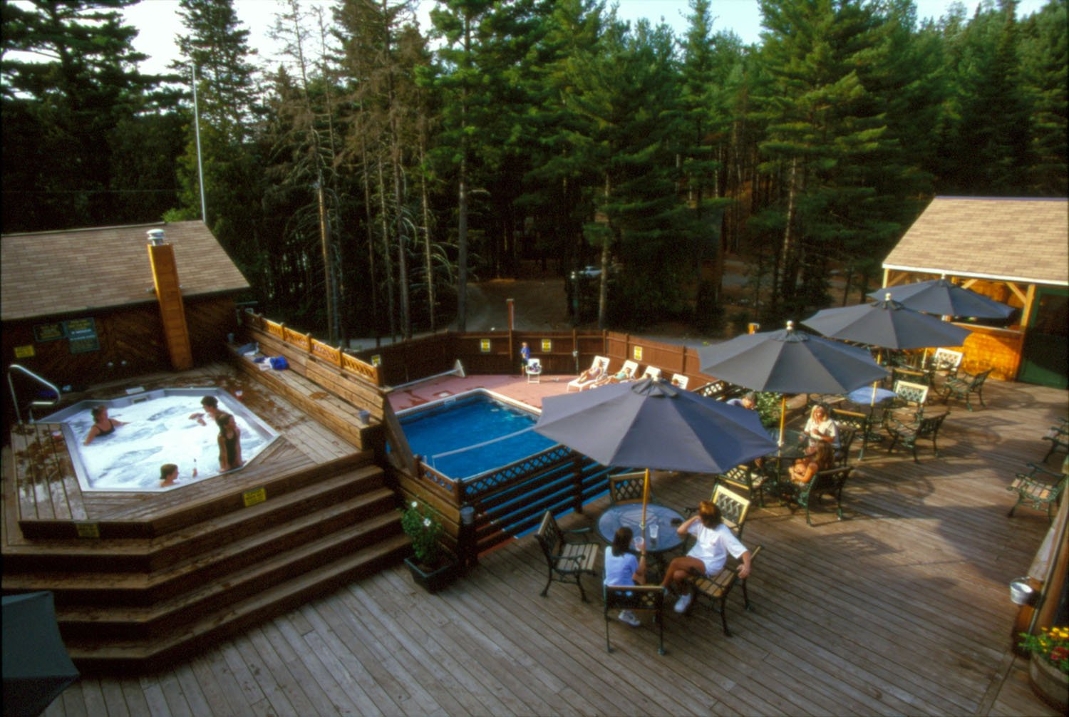 Enjoy the swimming pool in the summer, and the giant hot tub year-round at the Kennebec River Brewery at Northern Outdoors.