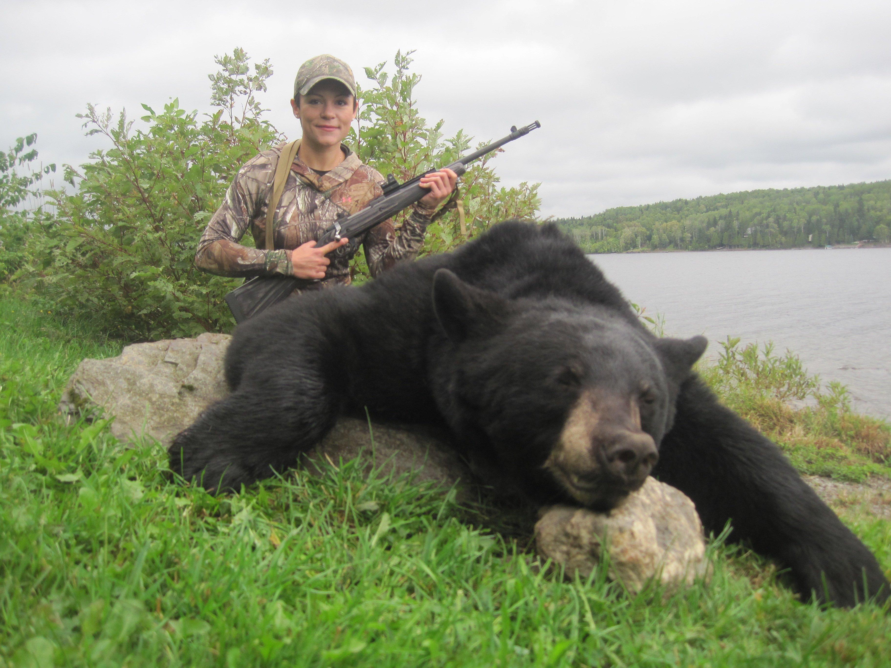 Tatiana's first North American big game animal - a Maine black bear!