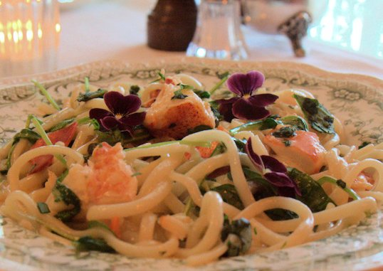 Lobster Linguine in our farm-to-table restaurant