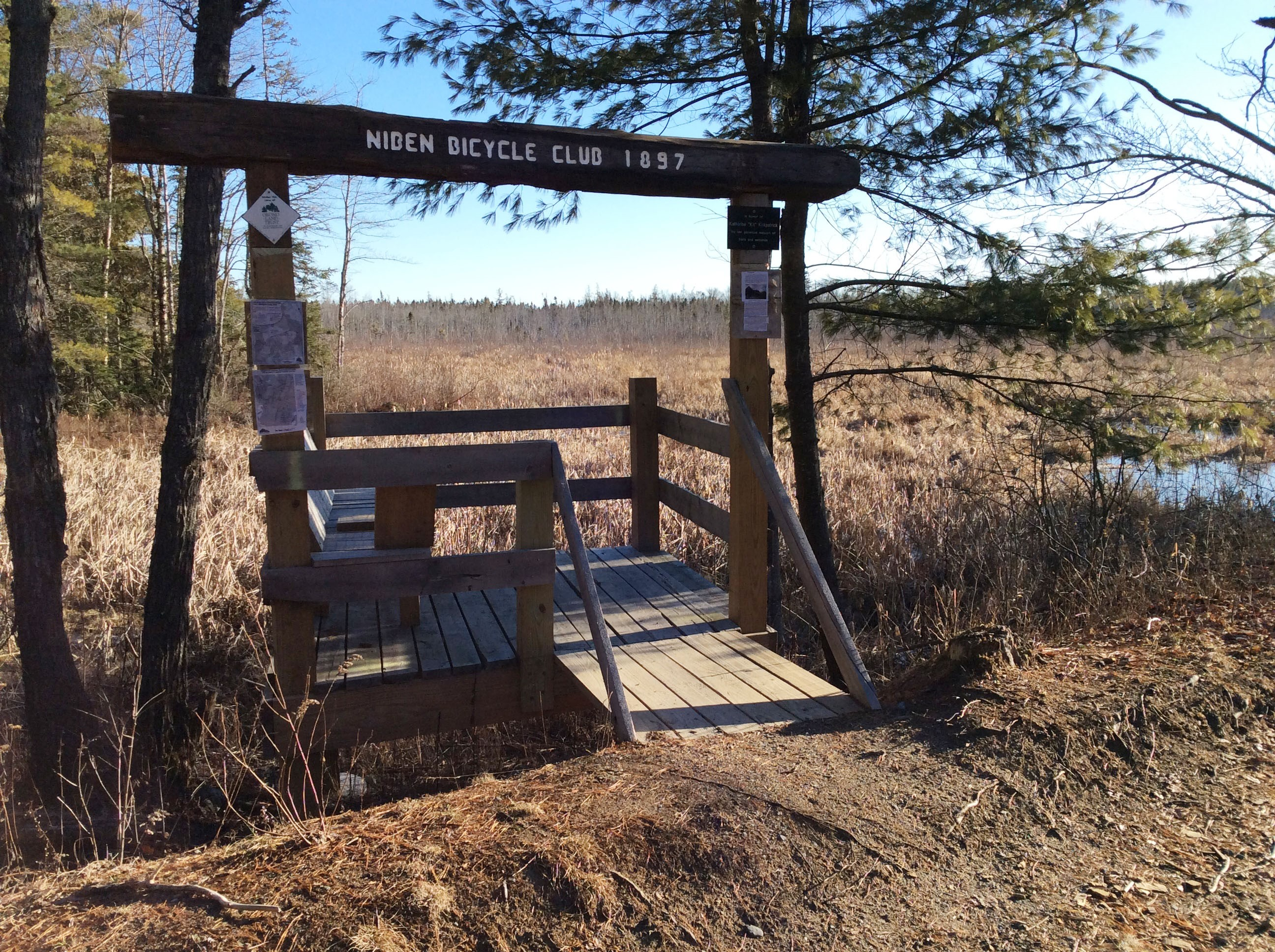 This viewing deck is located alongside the Veazie Railroad trail in Orono, off Forest Avenue. Built by Orono Land Trust volunteers, it provides respite and a view of the varied pond life.