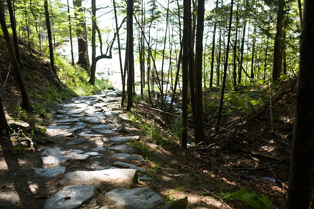 Hiking a trail in Wolfe Neck State Park
