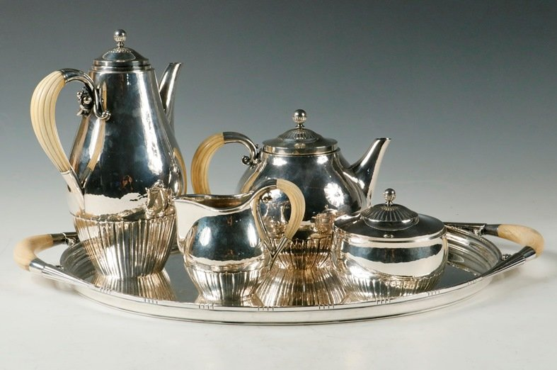 Georg Jensen 5-piece sterling silver tea and coffee set to be sold at Thomaston Place Auction Galleries on February 16, 17 & 18