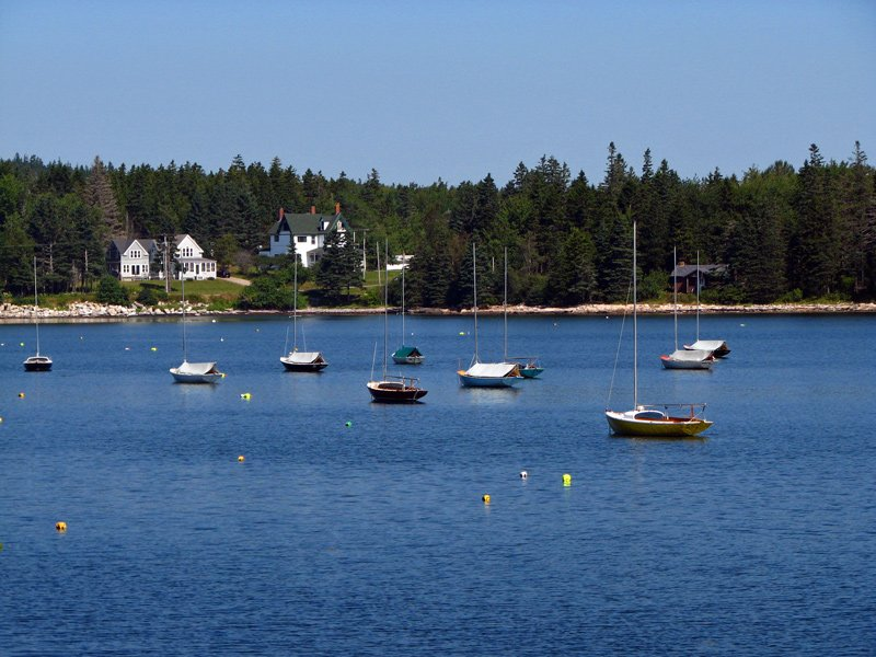 Small sailboats in a village of Winter Harbor, Maine.