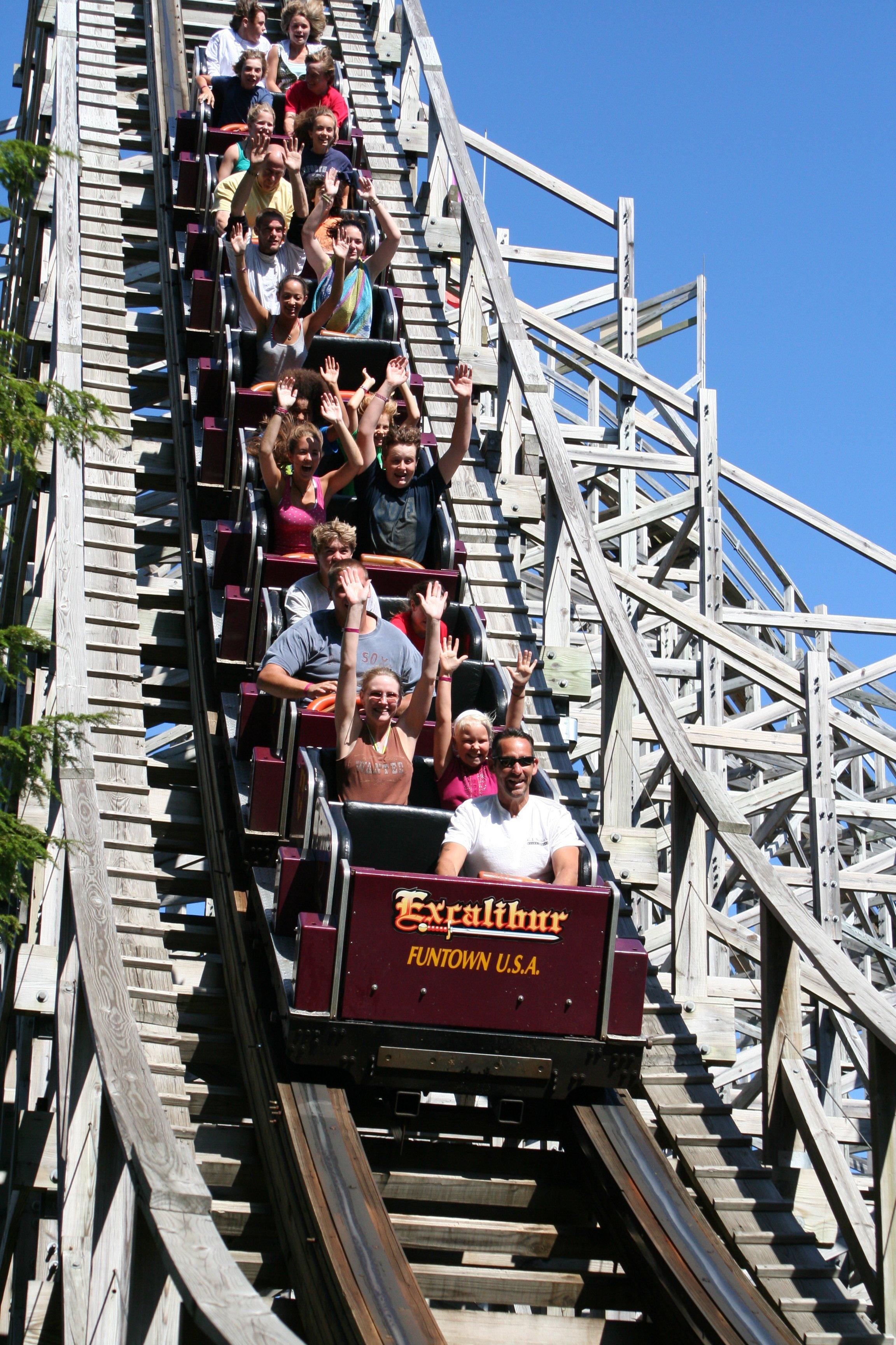 Excalibur Wooden Roller Coaster at Funtown USA Ride Park