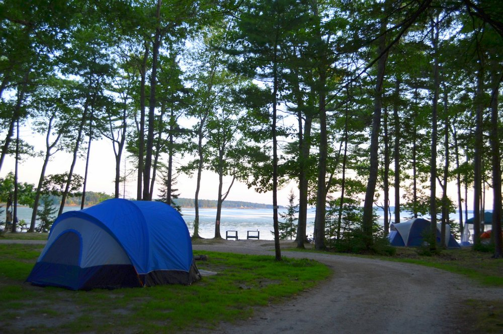 Oceanfront camping at Middle Bay Wolfe's Neck Farm