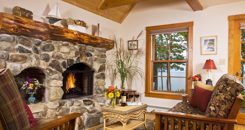 Puffin oceanfront cottage living room with stone fireplace