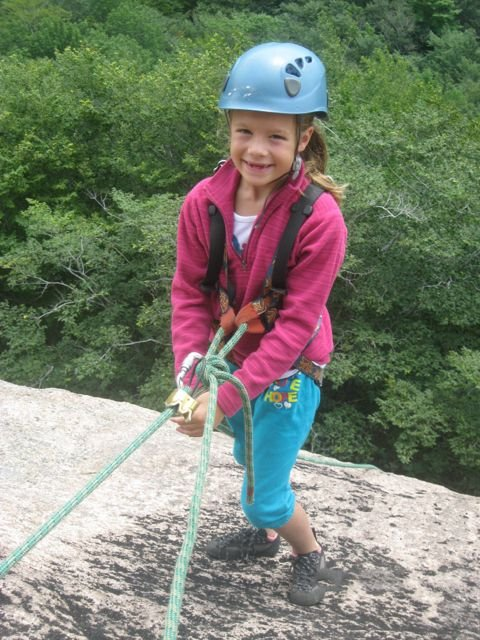 Rappelling is fun for all ages at South Bubbles. Climbing in Acadia National Park with Acadia Mountain Guides Climbing School
