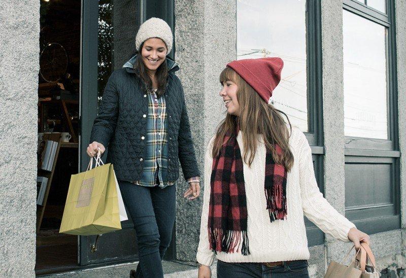 Two girls enjoying shopping in Portland, Maine