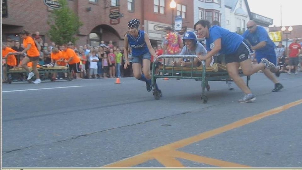 The popular bed races are the flagship event of Moonlight Madness -- a madcap evening when Water Street closes to traffic, vendors sell treats and toys, and teams race beds on wheels.