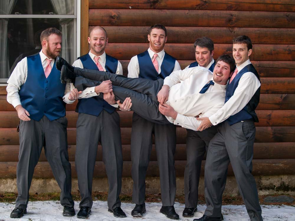 "Hamming it up with the groom before he says ""I do!"""