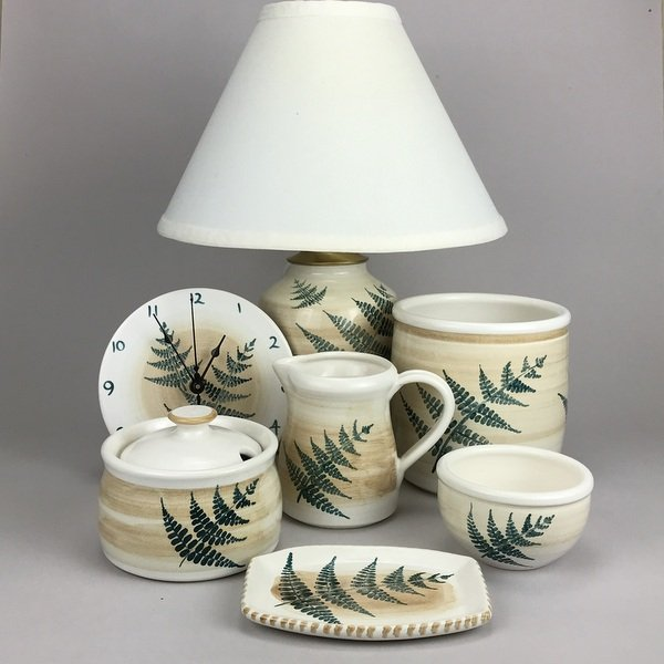 A selection of our fern pattern pieces. See more on our website www.columbiafallspottery.com