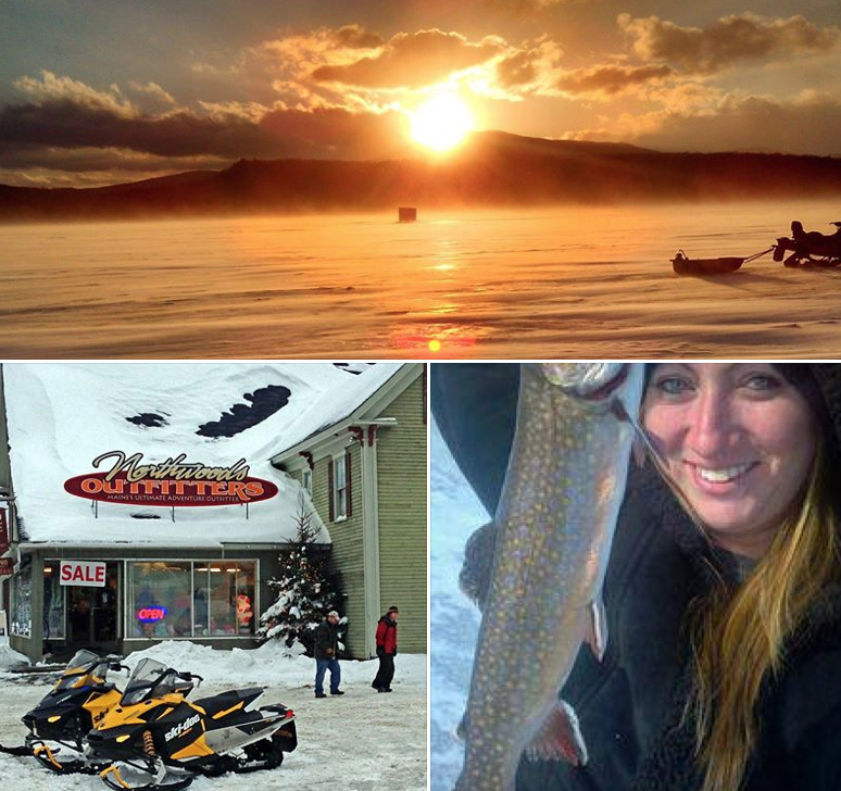 Maine Ice Fishing Tours and Snowmobile Rentals at Moosehead Lake