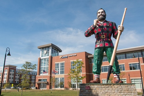 Maine's most famous lumberjack - Paul Bunyan - stands outside the Cross Insurance Center