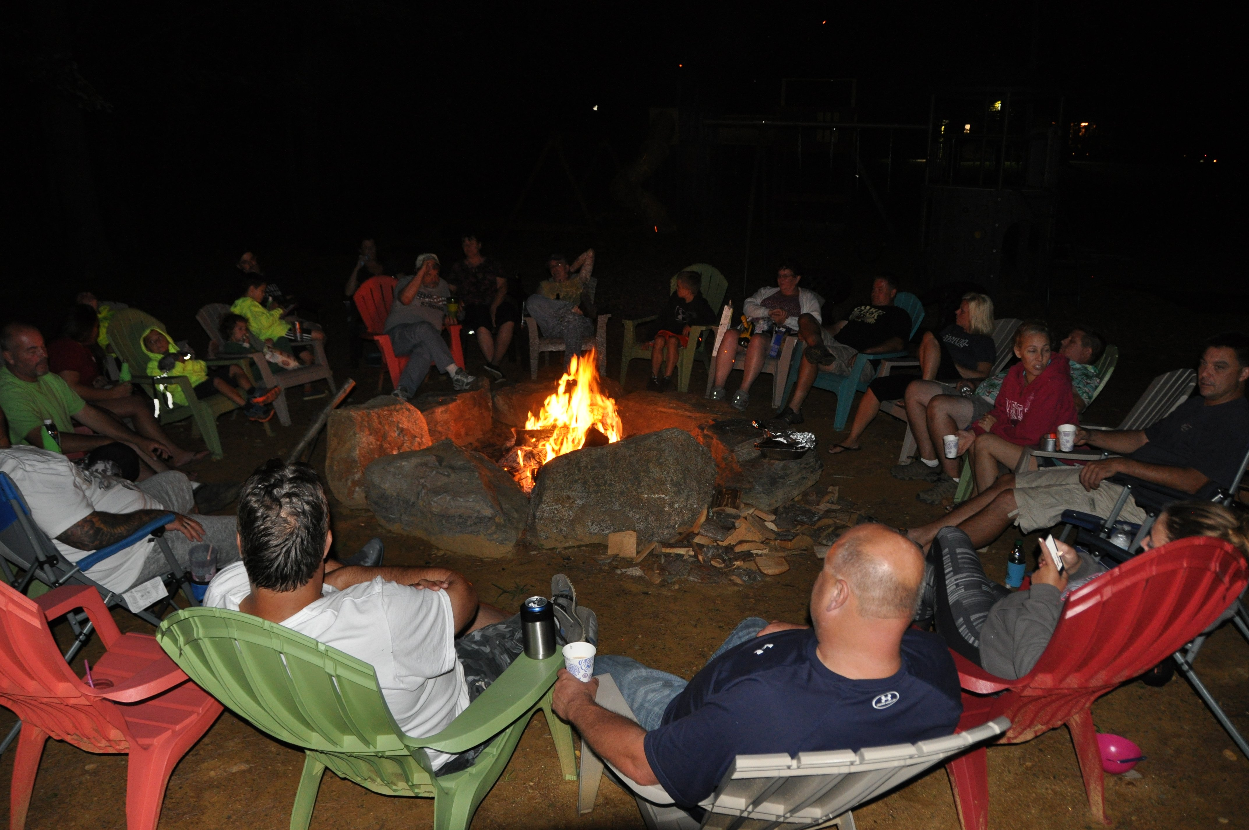 Meet new friends and share stories around the community campfire.