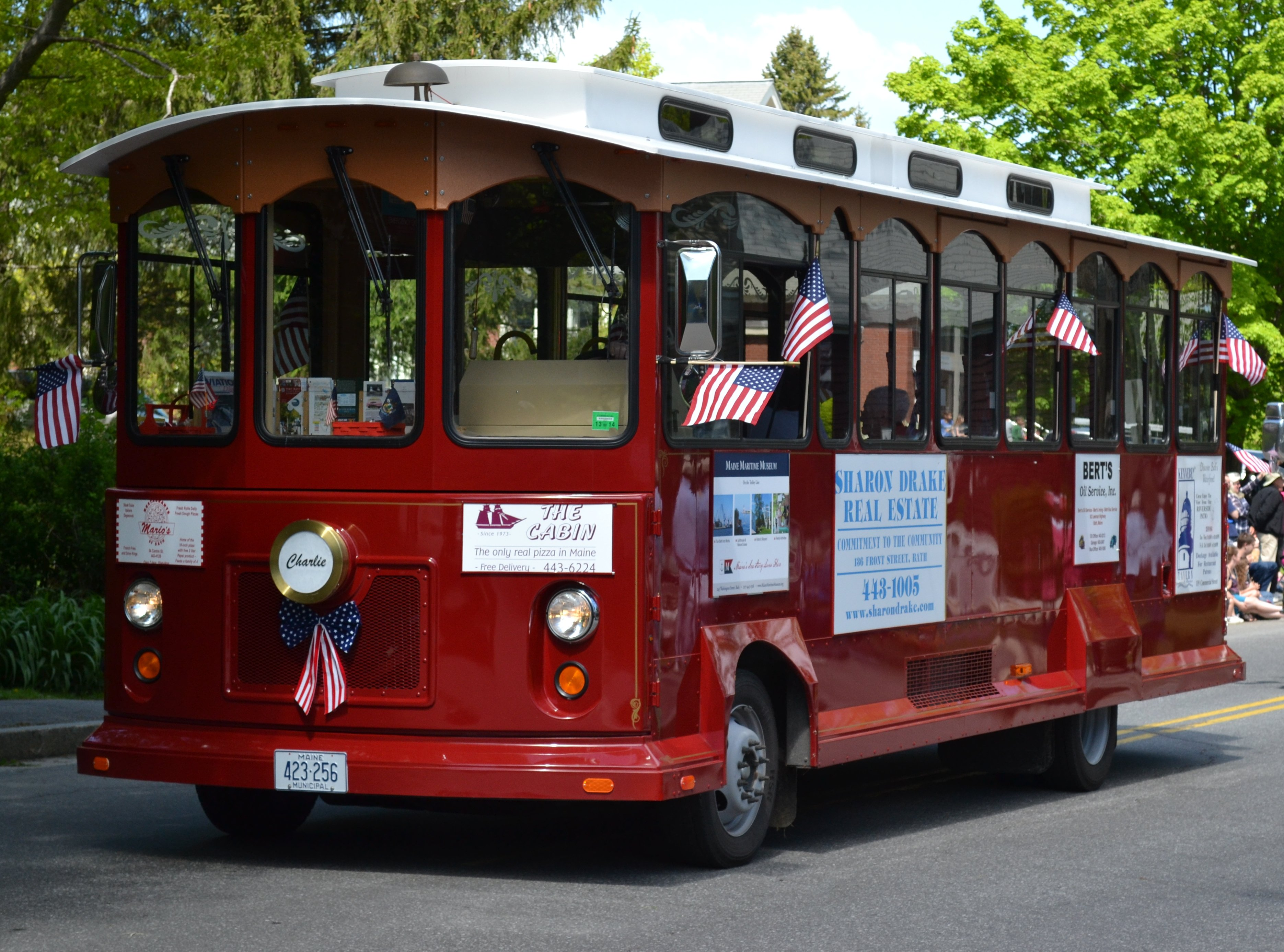 """""""Charlie"""" the Bath Trolley is a 2012, fully-accessible bus-trolley."""