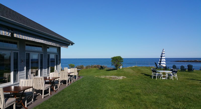 This is the view of our front lawn looking out to the Atlantic Ocean. On the left is our Outdoor Terrace seating for Shearwater.
