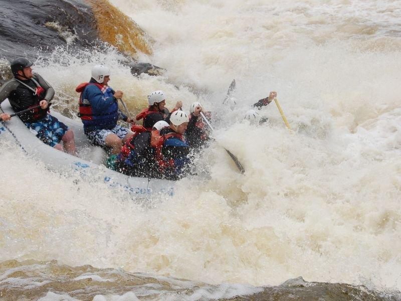 Bob Lindblom dropping Nesowdnehunk Falls on the the Penobscot River at high water.