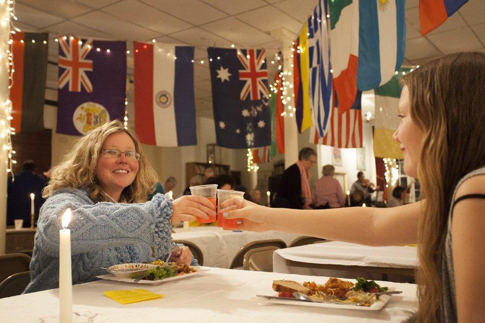 Georgie Kendall toasts Autumn Leighton at EAC's annual International Dinner.