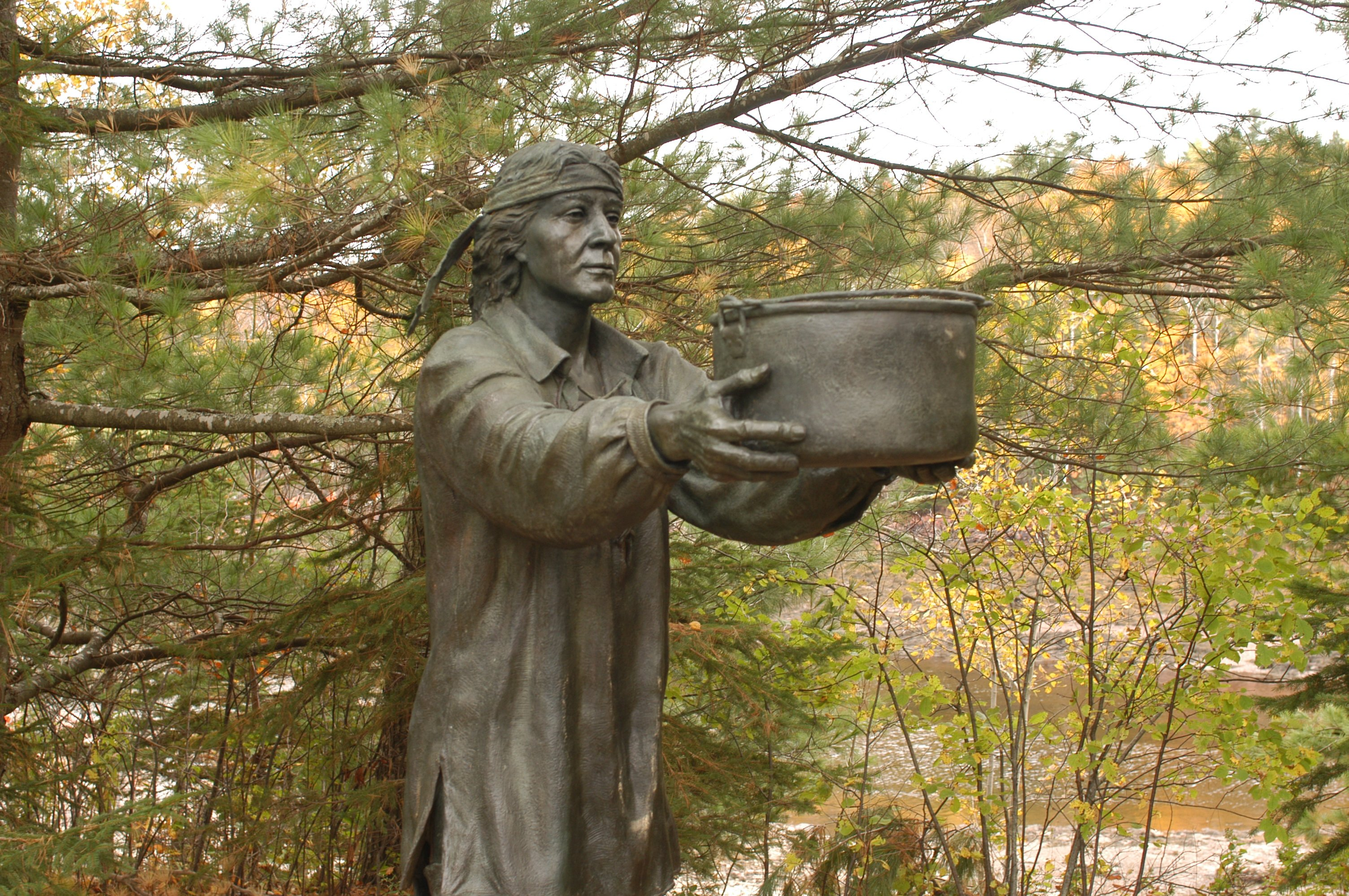Bronze sculptures and interpretive panels line the short, wheelchair accessible trail. Recordings in English, French, and Passamaquoddy, are available for the hearing impaired.