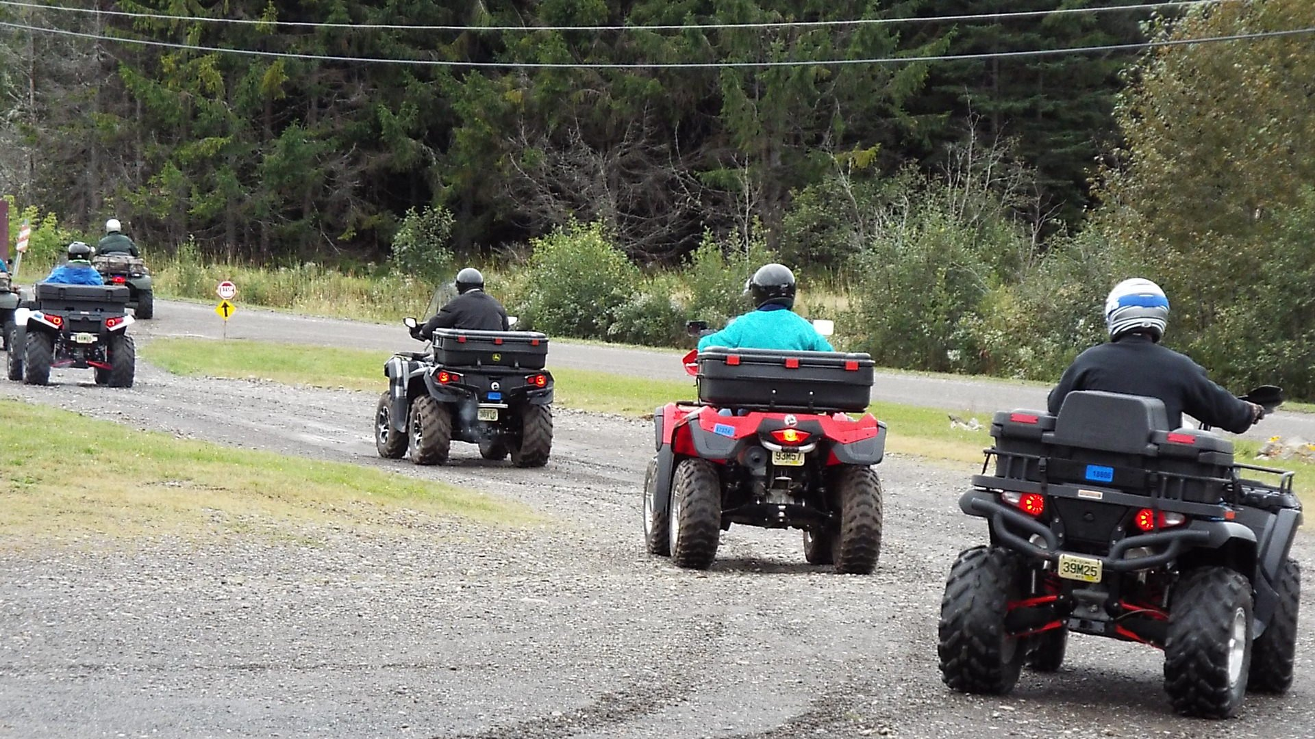 "ATV Group leaving the Aroostook Hospitality Inn to ride the 1300 miles of trails ""The County"" has to offer."